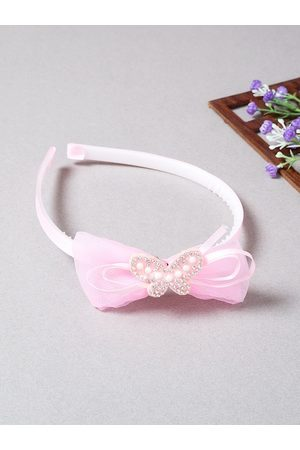 Golden Peacock Women White & Pink Shiny Bow Knot Embellished Hairband