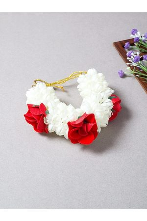 Golden Peacock Women White & Red Hair Accessory