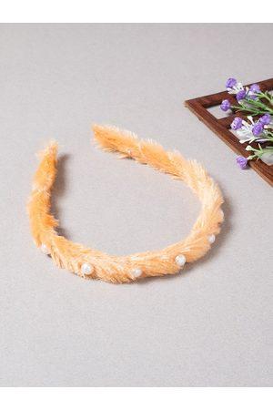 Golden Peacock Women Orange & White Beaded Fur Hairband