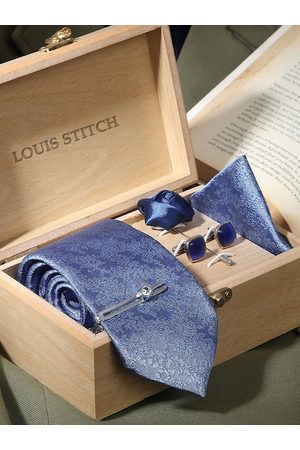 LOUIS STITCH Men Blue Woven Design Silk Accessory Gift Set