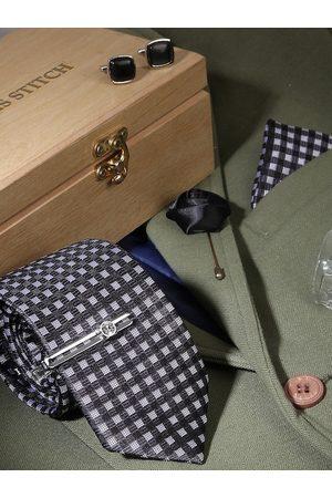 LOUIS STITCH Men Black & White Checked Silk Accessory Gift Set
