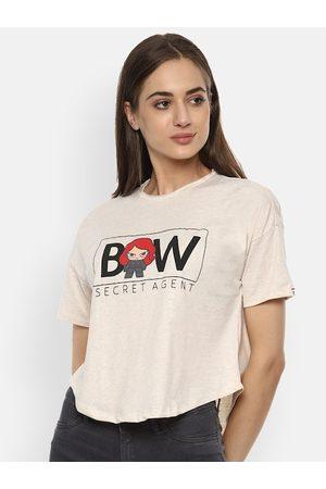 Van Heusen Women Polo Shirts - Women Beige Typography Printed Polo Collar T-shirt