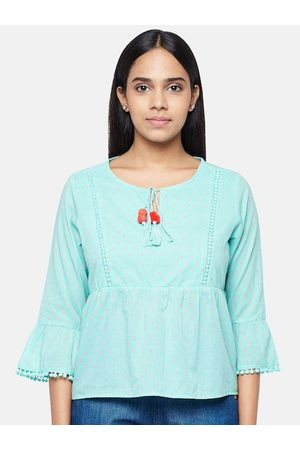 PEOPLE Turquoise Blue Tie-Up Neck Bell Sleeve Peplum Top