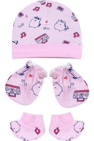 Superminis Unisex kids pink Cap Booties & Mitten set