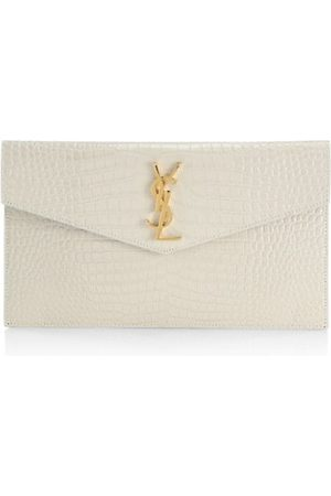 Saint Laurent Uptown Crocodile-Embossed Leather Pouch