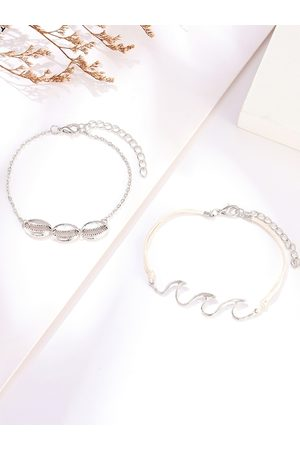 URBANIC Women Set of 2 Silver-Toned Anklets