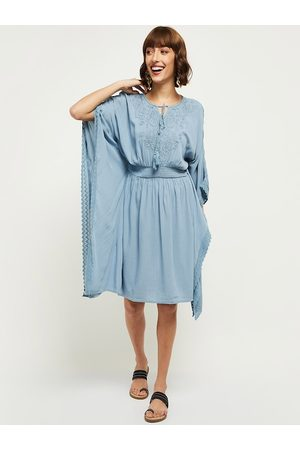 Max Collection Blue Tie-Up Neck Dress