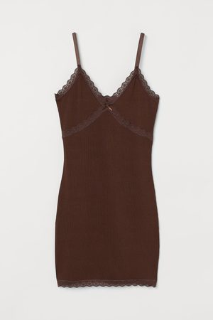 H&M Ribbed lace-trimmed dress