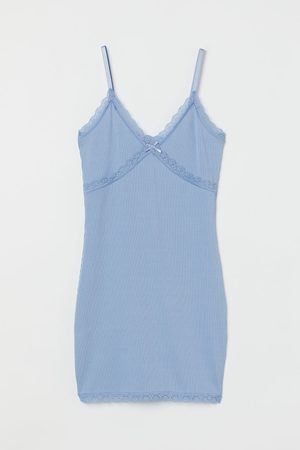 H&M Women Dresses - Ribbed lace-trimmed dress