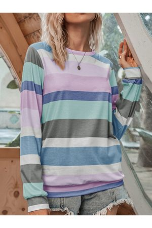 YOINS Multicolor Patchwork Crew Neck Long Sleeves Tee