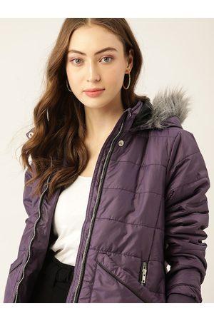 DressBerry Women Purple Hooded Parka Jacket