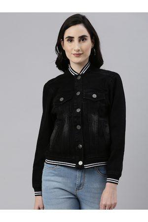 Campus Women Outdoor Jackets - Women Black Washed Outdoor Denim Jacket