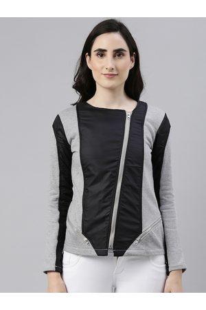 Campus Women Outdoor Jackets - Women Black & Grey Colourblocked Windcheater Outdoor Biker Jacket