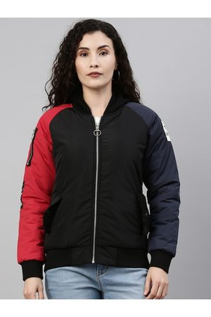 Campus Women Black & Red Colourblocked Windcheater Outdoor Bomber Jacket