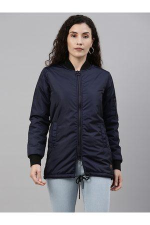 Campus Women Blue Windcheater Outdoor Padded Jacket