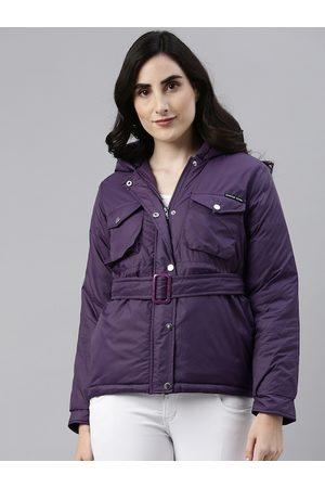 Campus Women Purple Windcheater Outdoor Padded Jacket