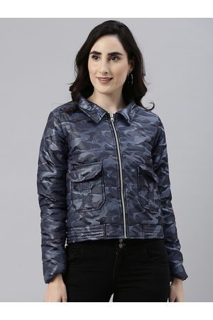 Campus Women Blue Camouflage Windcheater Outdoor Padded Jacket
