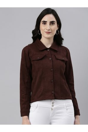 Campus Women Coffee Brown Suede Outdoor Tailored Jacket
