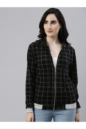 Campus Women Black & White Checked Windcheater Outdoor Sporty Jacket