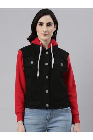 Campus Women Black Outdoor Denim Jacket