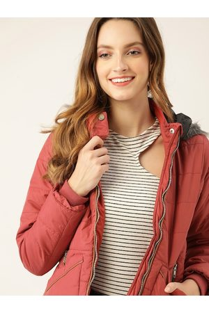 DressBerry Women Rust Red Hooded Parka Jacket