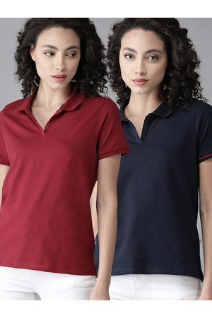 Roadster Women Pack of 2 Solid Polo Collar T-shirts