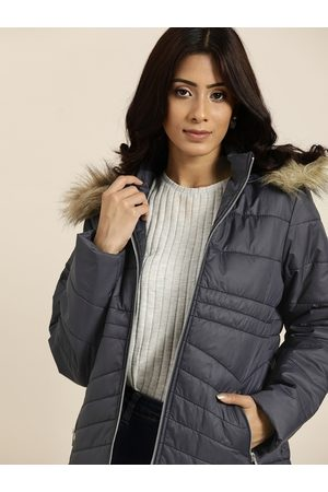 all about you Women Parkas - Women Charcoal Grey Solid Parka Jacket