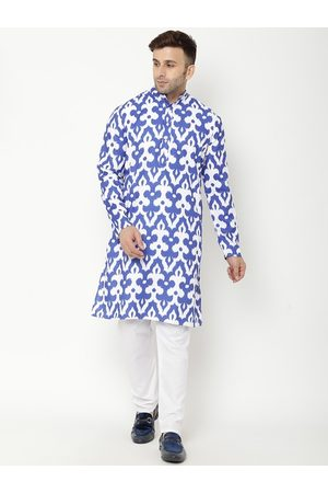 Hangup Men Blue Ethnic Motifs Printed Kurta with Pyjamas