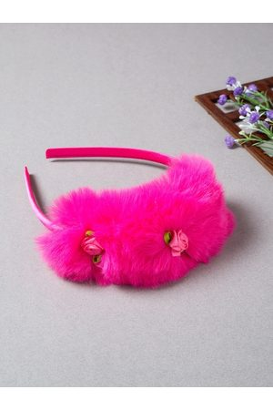 Golden Peacock Women Hair Accessories - Women Pink Fur Hairband with Mini Roses