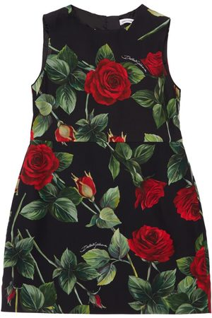 Dolce & Gabbana Girls Printed Dresses - Rose Print Sleeveless Viscose Dress