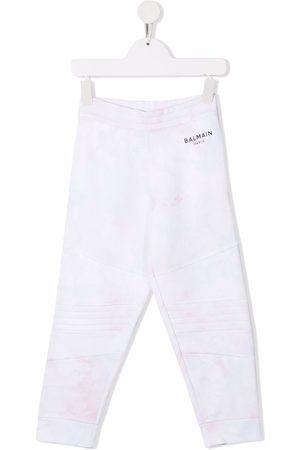 Balmain Tie-dye logo lettering trousers