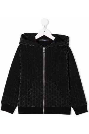 Balmain Monogram-pattern velvet-effect jacket