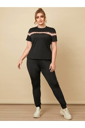 YOINS Plus Size Striped Leopard Patchwork Design Short Sleeves Two Piece Outfits