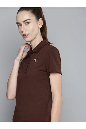 Puma Women Coffee Brown Solid Polo Collar T-shirt