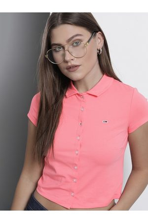Tommy Hilfiger Women Pink Polo Collar Slim Fit Cropped T-shirt