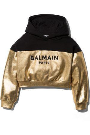 Balmain Metallic logo print hoodie
