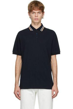 Men Polo Shirts - Brunello Cucinelli Navy Striped Collar Polo