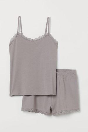 H&M Pyjama strappy top and shorts - Grey