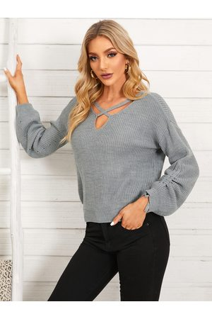 YOINS Lace-up Design Criss-cross V-neck Long Sleeves Sweater