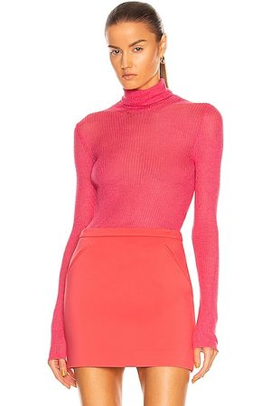 TOM FORD Cashmere Silk Rib Turtleneck Top in Flamingo