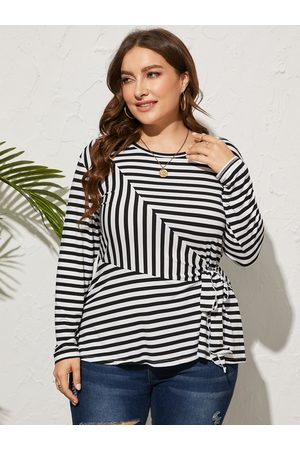 YOINS Plus Size Striped Tie-up Design Long Sleeves Tee