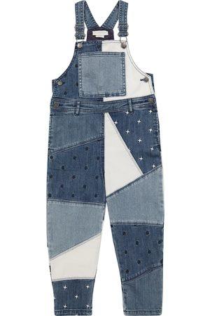 Stella McCartney Girls Dungarees - Patchworked denim overalls