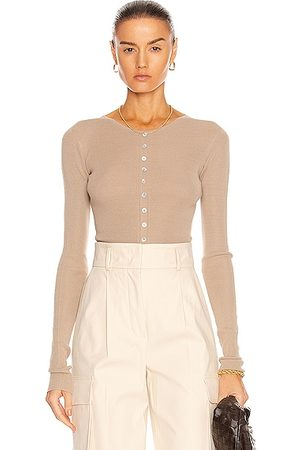 Lemaire Women Tops - Knitted Second Skin Buttoned Top in Greige