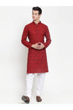 RG DESIGNERS Men Maroon Ethnic Motifs Printed Regular Kurta with Pyjamas
