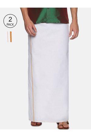 Chennis Men Pack Of 2 White & Orange Solid Pure Cotton Dhotis