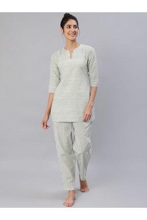 Nayo Women Green & Off-White Striped Night Suit Set