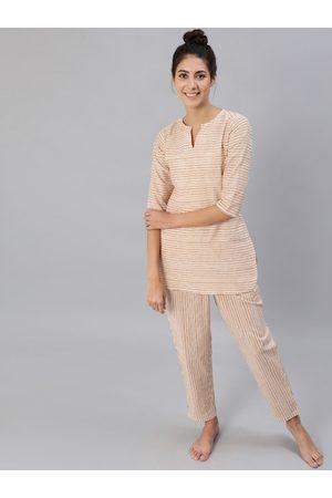 Nayo Women Suit sets - Women Mustard & Off-White Striped Night Suit Set