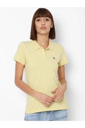 AMERICAN EAGLE OUTFITTERS Women Yellow Polo Collar T-shirt