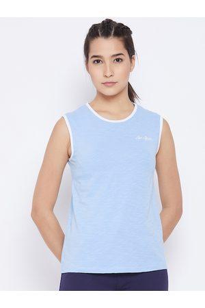 AGIL ATHLETICA Women Blue & White Self Design Round Neck Sleeveless Regular Top