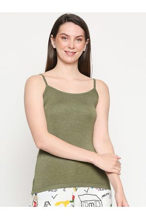 inocenCia Women Olive Solid Non-Padded Camisole